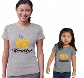 Thankful Glitter Pumpkin Mommy and Me Matching Heather Set