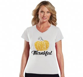 Thankful Glitter Pumpkin Women Modern V-Neck Shirt