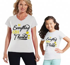 In Everything Give Thanks Mommy and Me Matching Shirts