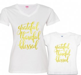 Grateful Thankful and Blessed Mommy and Me shirts Set