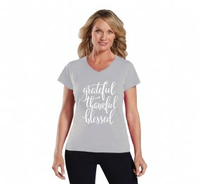 Grateful Thankful and Blessed Women Modern V-Neck shirt