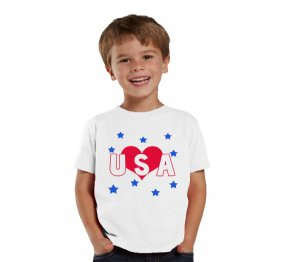 Love USA Metallic Hearth shirt or baby bodysuit