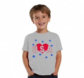 Love USA Metallic Hearth HEATHER shirt or baby bodysuit