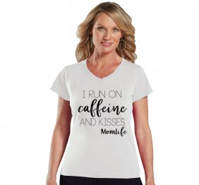 I run on Caffeine and Kisses Ladies Modern Fit V-Neck Shirt