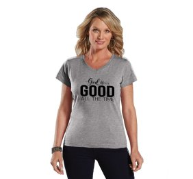 God is Good all the Time Ladies Modern Fit V-Neck Shirt