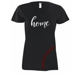 Home Baseball-Softball Mom fan Ladies Modern Fit V-Neck Shirt