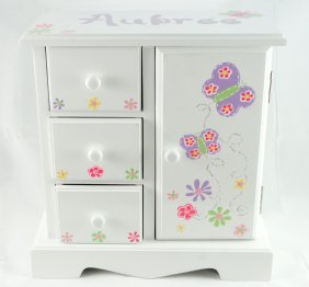 White Musical Jewelry box Purple butterflies