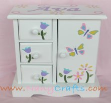 White Musical Jewelry Box Butterflies
