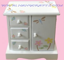 White Musical Jewelry Box Dragonflies