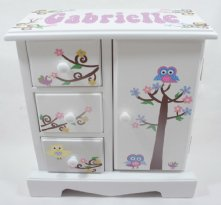 Owls and Birds Personalized musical jewelry box for girls