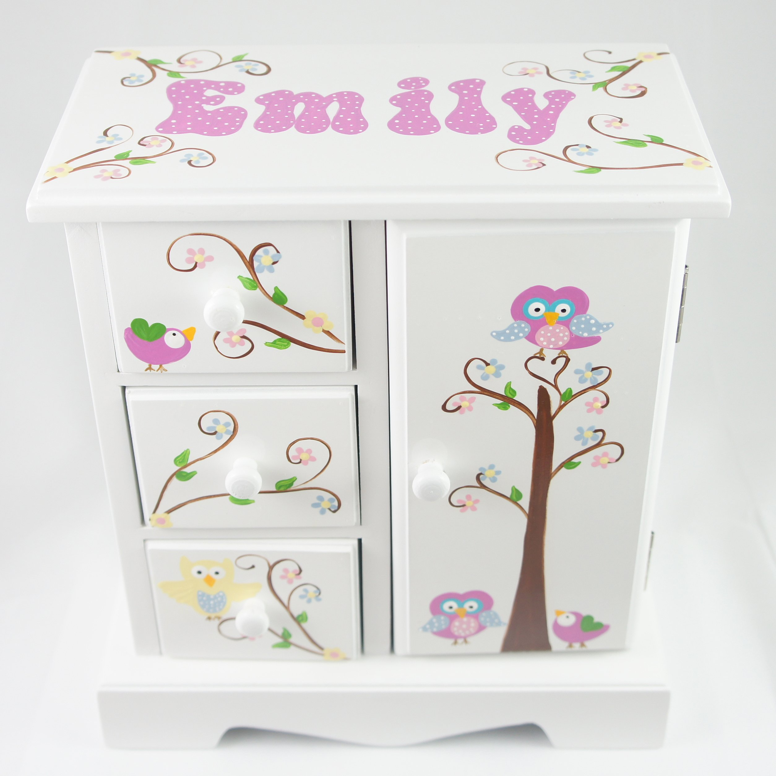 Owls and Birds Personalized musical jewelry box for girls NanyCrafts