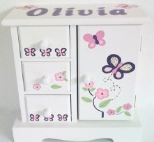 Violet Butterflies Personalized Musical Jewelry Box for Girls