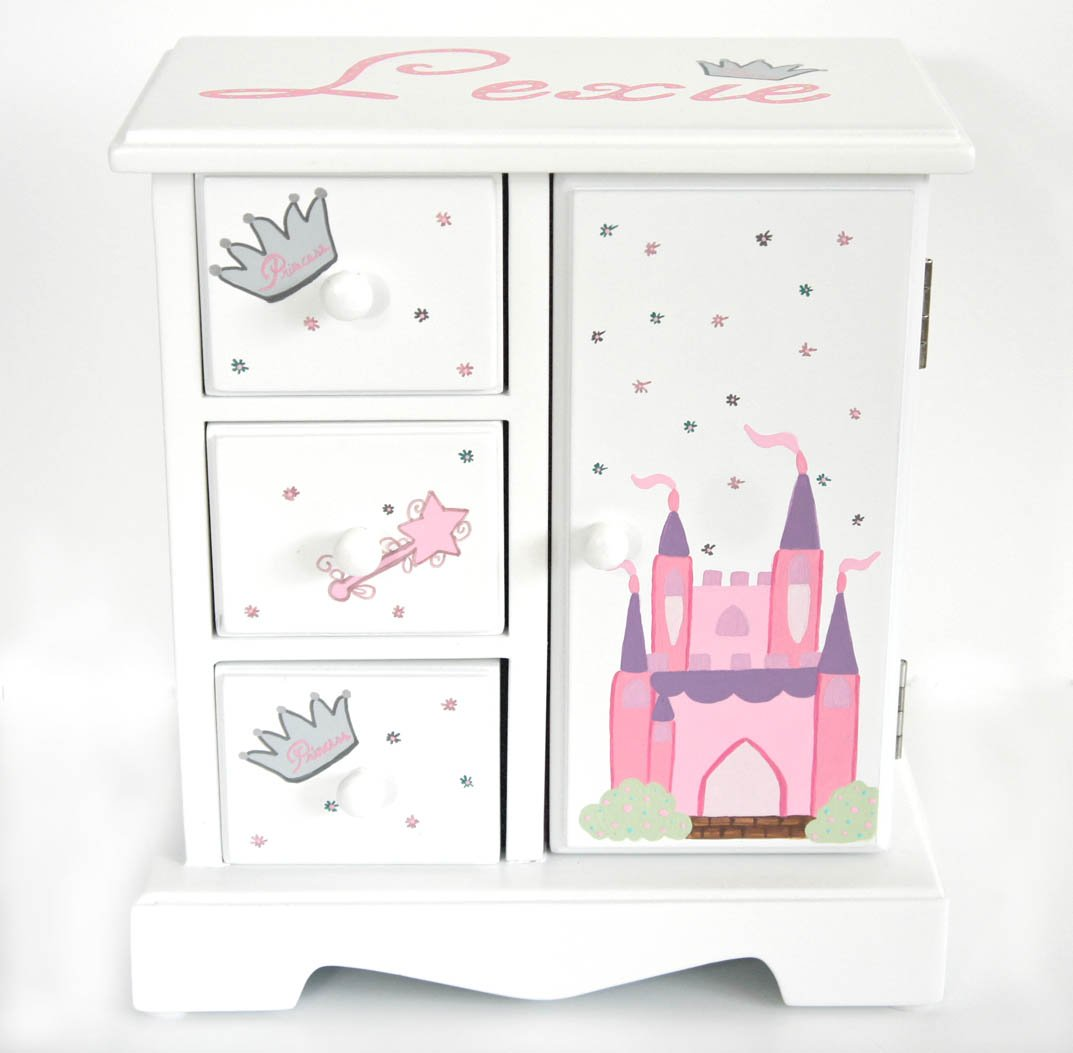 Princess castle personalized musical jewelry box for girls for Girls large jewelry box