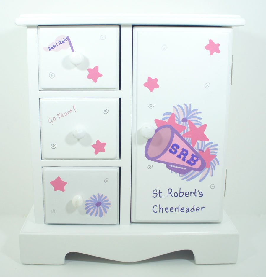 Cheerleaders personalized musical jewelry box for girls for Girls large jewelry box