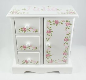 Pink and Ivory Roses - Musical Jewelry box