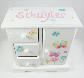 Bright Butterflies and flowers Personalized musical jewelry box for girls