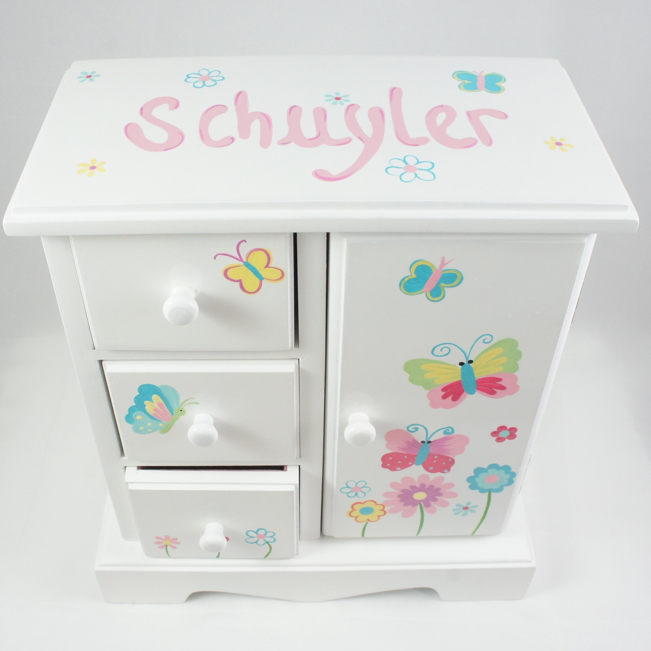 Bright butterflies and flowers personalized musical for Girls large jewelry box