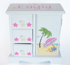 Girls Beach Time Personalized musical jewelry box