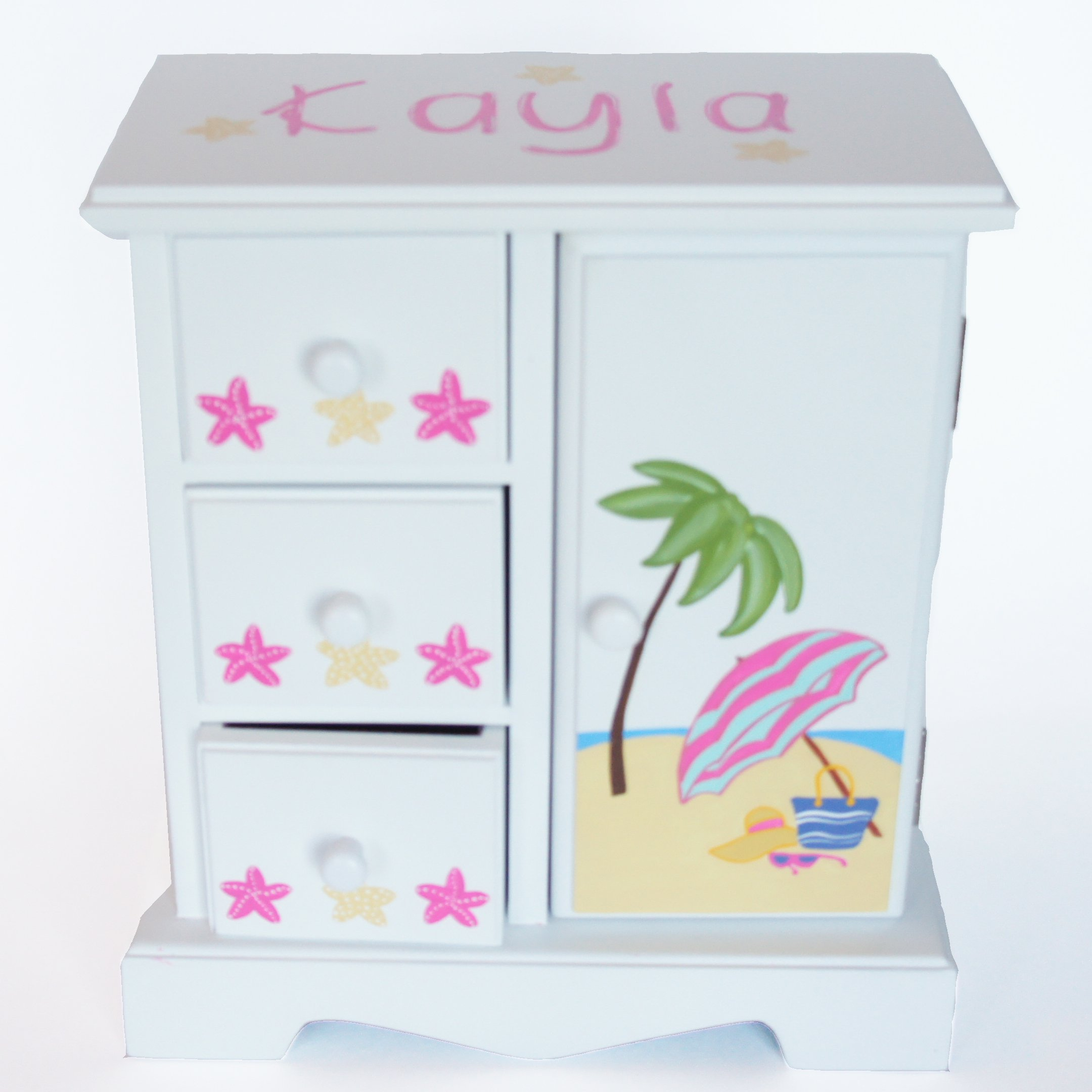Girls beach time personalized musical jewelry box nanycrafts for Girls large jewelry box