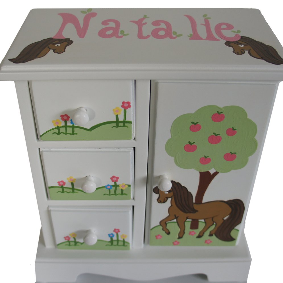Personalized jewelry box for girls my little horse for Girls large jewelry box