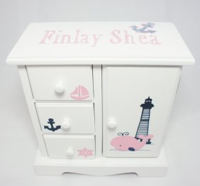Nautical Whale Personalized musical jewelry box for girls