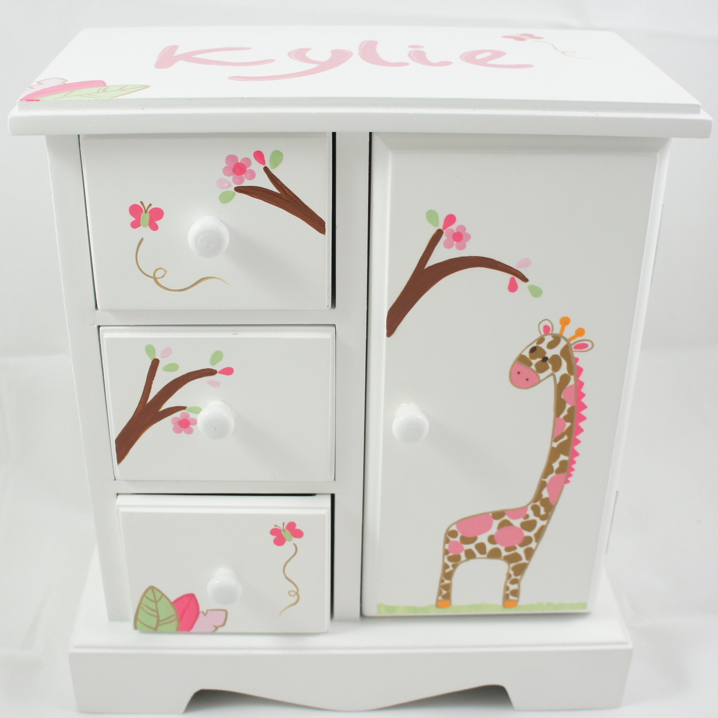 Giraffe girl theme personalized musical jewelry box for for Girls large jewelry box