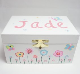 Bright Butterflies and Flowers Ballerina Jewelry Box for Girls