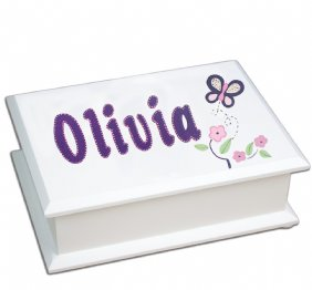 Violet Butterflies Lift Top Jewelry Box