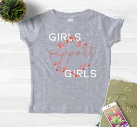 Girls Support Girls Ladies Shirt with a Panda