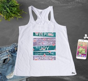 Joy comes with the Morning Flourish Girls Racerback Tank Top