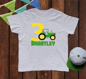 Personalized Green Tractor Birthday Boy Shirt