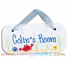 Wooden Rectangle Baby Name Plaque Crab