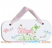 Wooden Rectangle Baby Name Plaque Happy Meadows Girls
