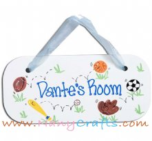 Wooden Rectangle Baby Name Plaque Sports