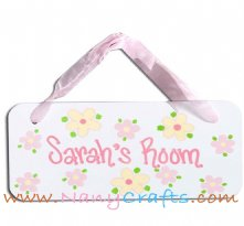Wooden Rectangle Baby Name Plaque Blooms Pink and Yellow