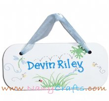Wooden Rectangle Baby Name Plaque Happy Meadows Boys