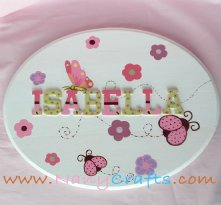 Ladybug Baby Name Plaque With Features