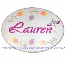 Wooden Oval Baby Name Plaque Dragonfly