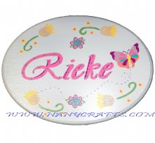 Wooden Oval Baby Name Plaque Butterfly