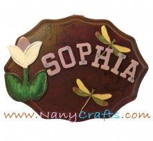 Wooden Cherry Baby Name Plaque With Features