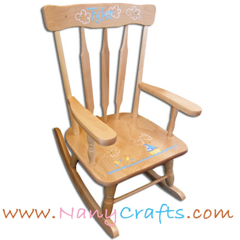 Marvelous Deluxe Victorian Kids Rocking Chair Natural Sailboat Nany Machost Co Dining Chair Design Ideas Machostcouk