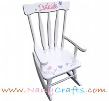 Deluxe Victorian Kids Rocking Chair White Butterfly Flowers
