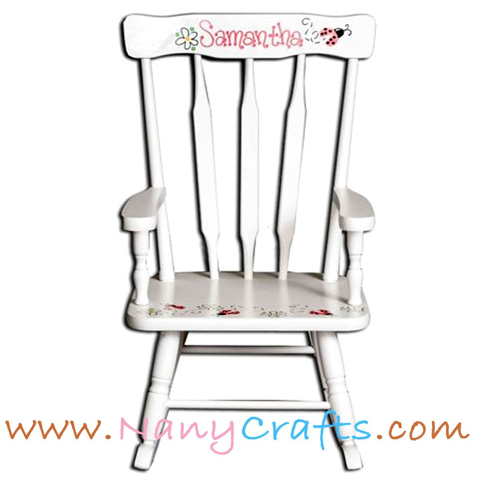 Swell Deluxe Victorian Kids Rocking Chair White Ladybug Nany Crafts Machost Co Dining Chair Design Ideas Machostcouk