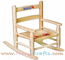 Natural Slat Back Kids Rocking Chair Firetruck