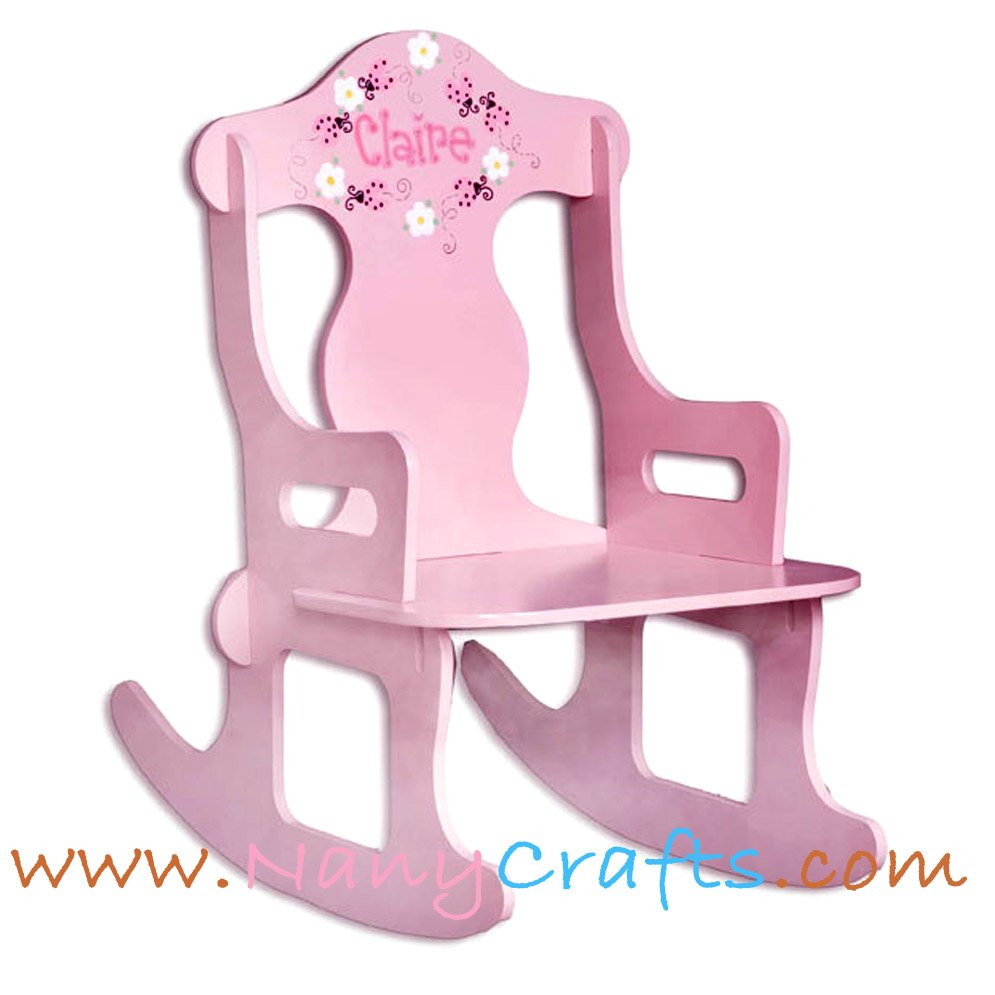 Enjoyable Pink Puzzle Kids Rocking Chair Ladybug Nany Crafts Machost Co Dining Chair Design Ideas Machostcouk