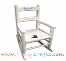 White Slat Back Kids Rocking Chair Train