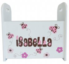 Pink and Brown Ladybugs - Personalized Book Caddy For Kids