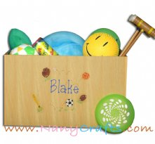 Natural Large Open Top Toy Box Sports